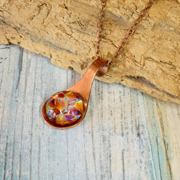 Cremation Pendant Necklace Copper and Blown Glass Copper Link