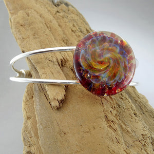 Cuff Bracelet Blown Glass Burst of Color Lampwork Bracelet