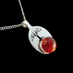 Sterling Silver Tree of Life Red Blown Glass Memorial Cremation Pendant