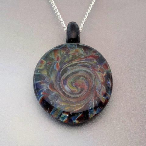 Blown Glass Pendant Slice of Color Burst of Color Art Glass Necklace Lampwork Focal Bead (867A)