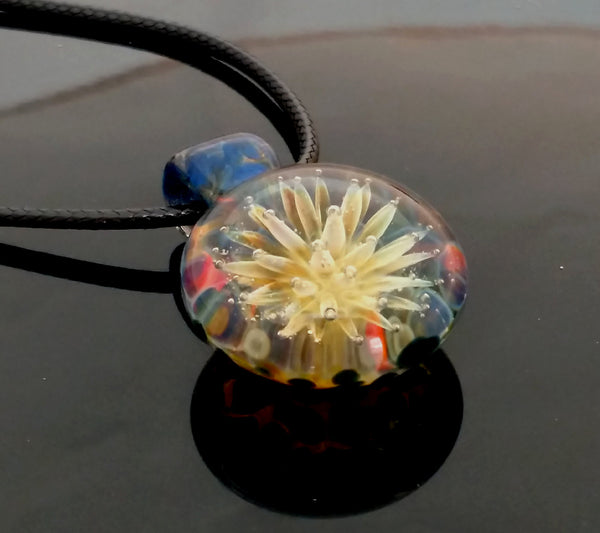 Sea Anemone Hand Blown Glass Pendant Blue Multi Borosilicate Glass Necklace