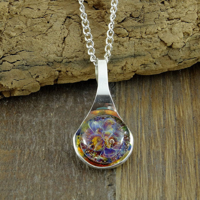 Memorial Cremation Pendant Sterling Silver Blown Glass