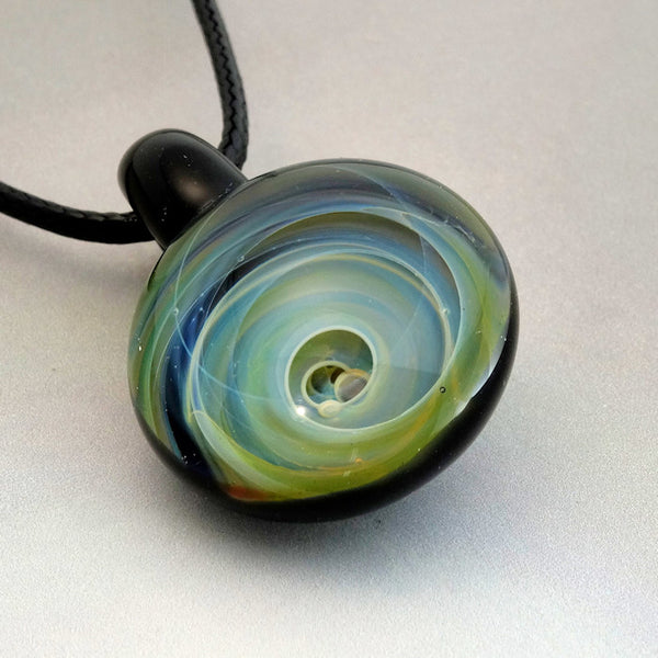 Gold and Silver Fumed Vortex Blown Glass Pendant