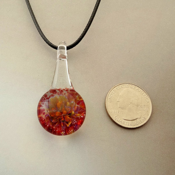 Blown Glass Rainbow Pendant Suspended Burst of Color Necklace Blown Glass Art (BCL8248A)