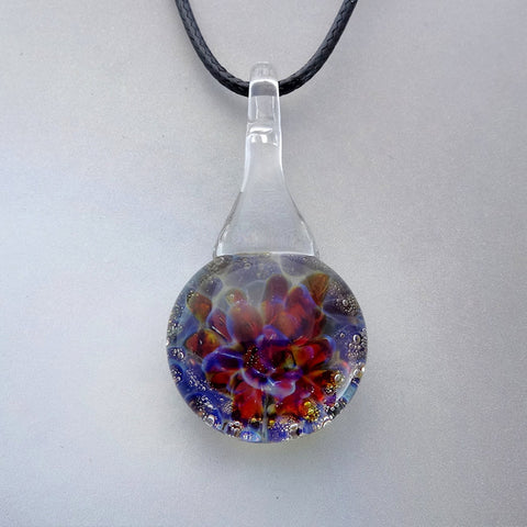 Blown Glass Rainbow Pendant Suspended Burst of Color Necklace Blown Glass Art (BCD7148A)