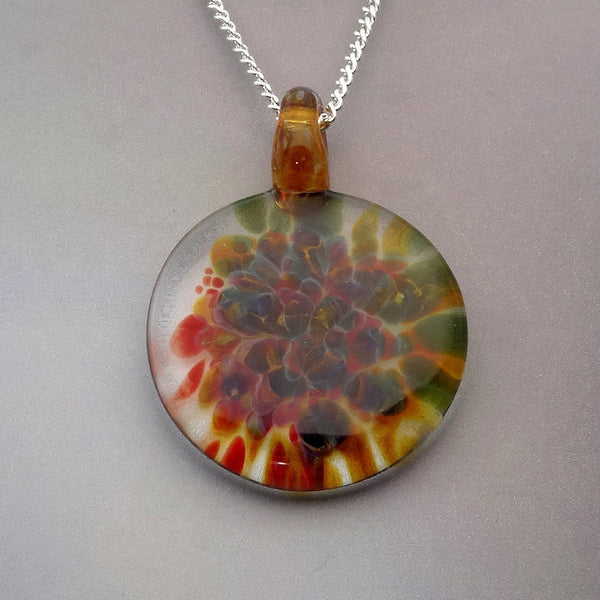 Blown Glass Pendant Slice of Color Burst of Color Art Glass Necklace Lampwork Focal Bead (867B)
