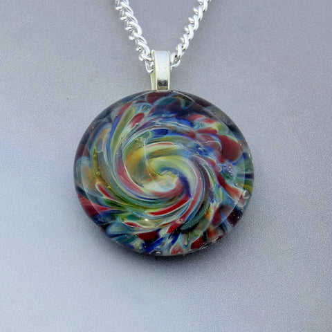 Burst of Color Blown Glass Pendant