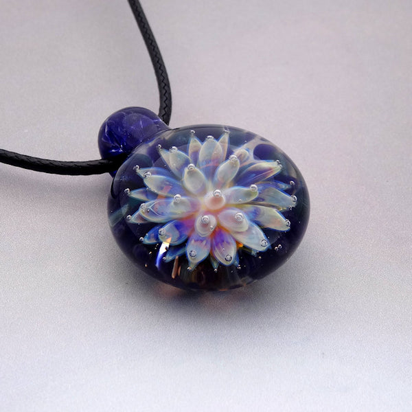 Sea Anemone Pendant,  Implosion Blown Glass Necklace, Flower of the Sea, Lampwork Focal Bead (AN4228A)