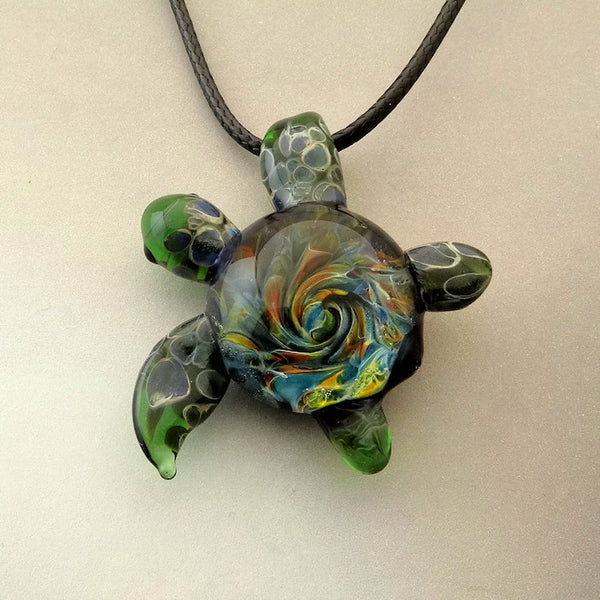 Sea Turtle Blown Glass Pendant