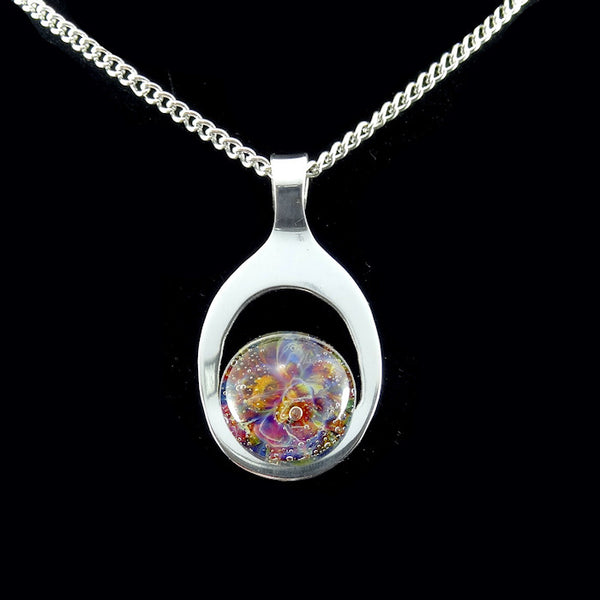 Sterling Silver Blown Glass Memorial Cremation Pendant