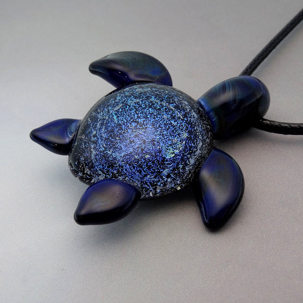 Turtle Pendant Ocean Vortex Blown Glass Sea Turtle