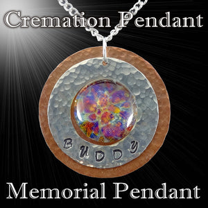 Cremation Pendant, Personalized Memorial Necklace, Ashes, Copper Aluminum Hand Blown Glass