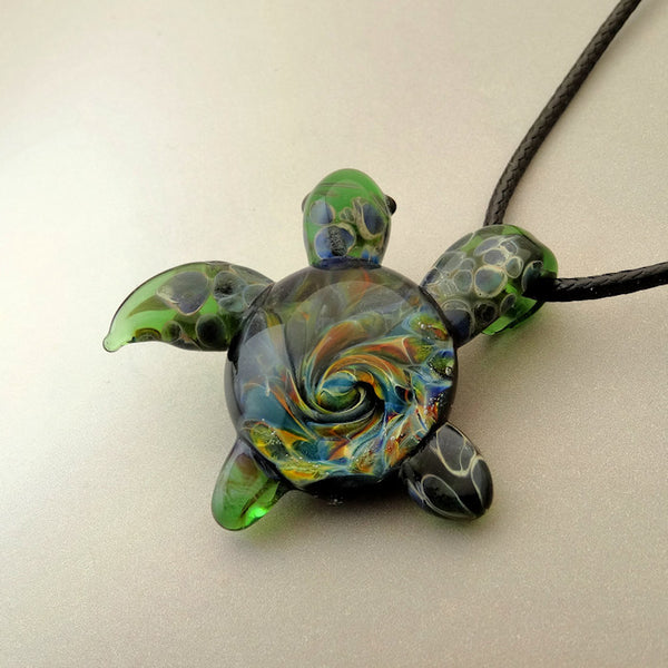 Just Hangin Out, Burst of Color Spiral Back Sea Turtle Pendant, Art Glass Jewelry (T8248A)