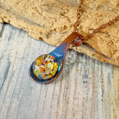 Cremation Pendant Necklace Enameled Copper Blown Glass Copper Link
