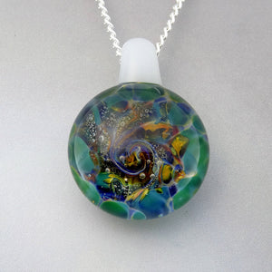 Green Burst of Color Blown Glass Pendant