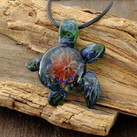 Sea turtle pendant hand blown glass anemone implosion back turtle sea turtle pendant just hangin out blown glass pendant mozeypictures Images
