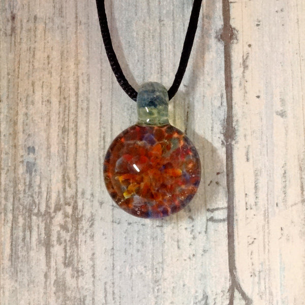 Blown Glass Rainbow Pendant Burst of Color Necklace Blown Glass Art (BC11819B)