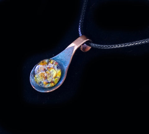 Cremation Pendant Necklace Enameled Copper and Blown Glass