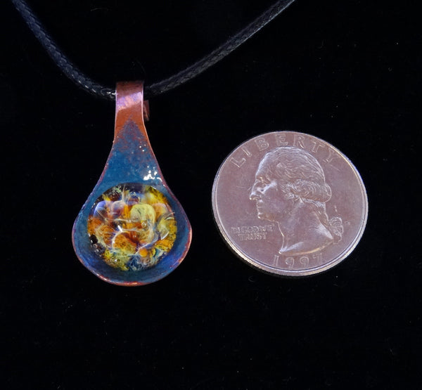 Cremation Pendant, Memorial Necklace, Ashes Pendant, Enameled Copper Blown Glass