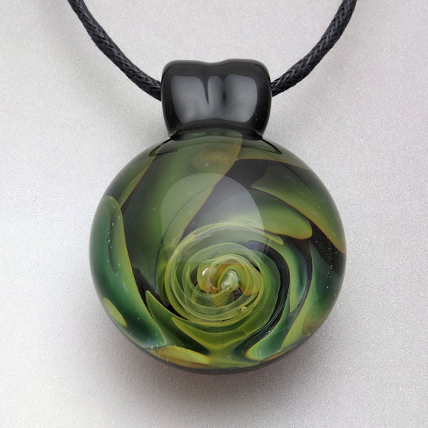 Blown Glass Pendant Gold Fumed Spiral Vortex