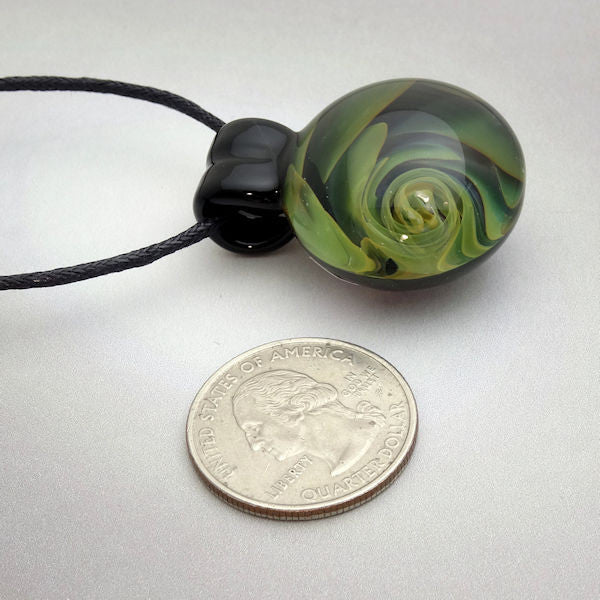 Blown Glass Pendant Gold Fumed Spiral Vortex 2