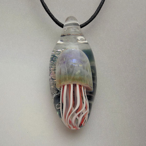 Pendant Jellyfish Blown Glass Necklace Lampwork Focal Bead (JF4087A)