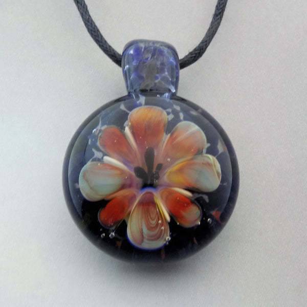 Never Wilting Glass Flower Necklace, Blown Glass Pendant (FL7127a)