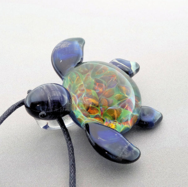 Sea Turtle Burst of Color Coral Back, Blown Glass Turtle Pendant (T7197B)