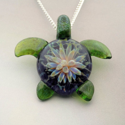 Turtle Pendant, Sea Anemone Implosion Back, Sea Turtle Pendant, Art Glass Jewelry (T7307b)