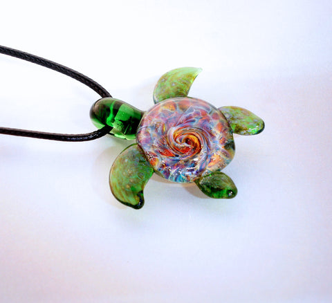 Burst of Color Spiral Reef Back Sea Turtle Pendant, Art Glass Jewelry