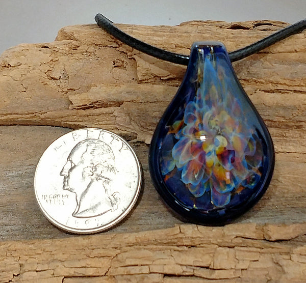 Blown Glass Pendant Necklace Burst of Color Brilliant Cobalt Blue Raised Edge Necklace Hand Blown Glass (BC4189A)