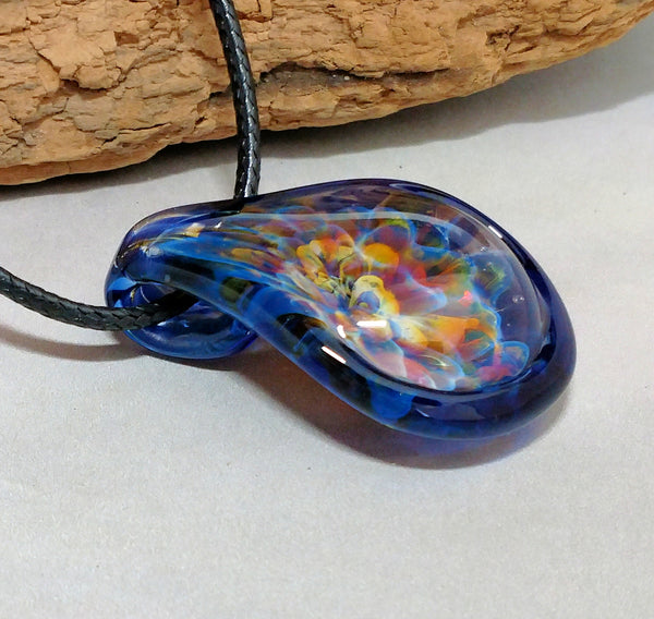 Blown Glass Pendant Burst of Color Brilliant Cobalt Blue Edge Necklace Hand Blown Glass