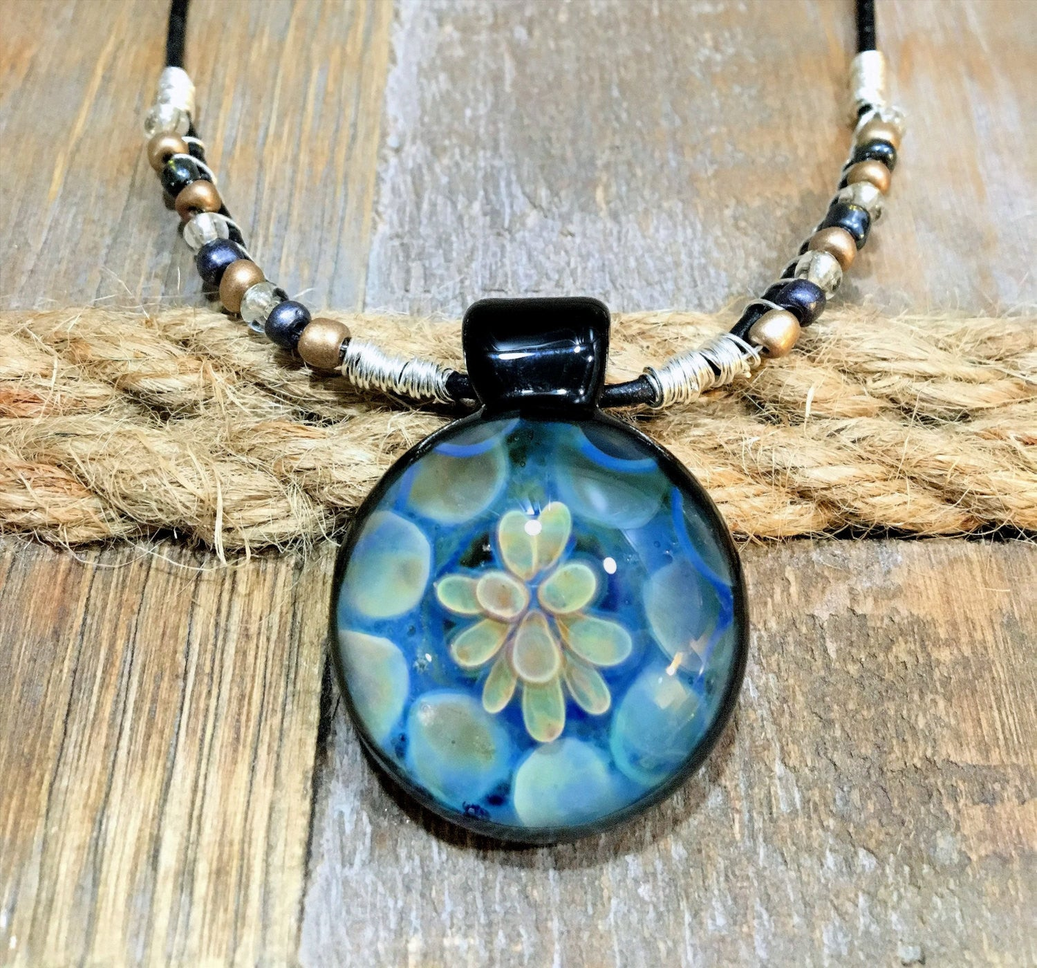 Silver & Gold Fumed Flower Pendant & Necklace, Lampwork Glass Jewelry (FGB7096a)