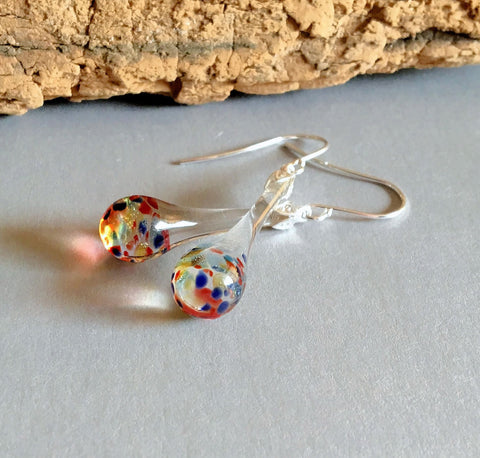 Multi Color Dangle Drop Dangle Blown Glass Earrings Boro and Silver