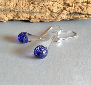 Blue Tear Drop Dangle Blown Glass Earrings Boro and Silver