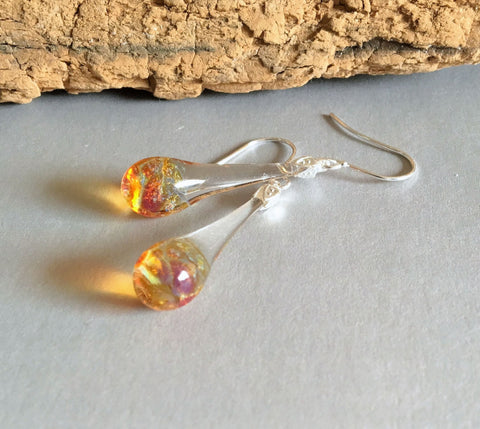 Shades of Amber Drop Dangle Blown Glass Earrings Boro and Silver