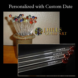 Personalized, Custom Date Glass Swizzle Sticks (Set of 8 )