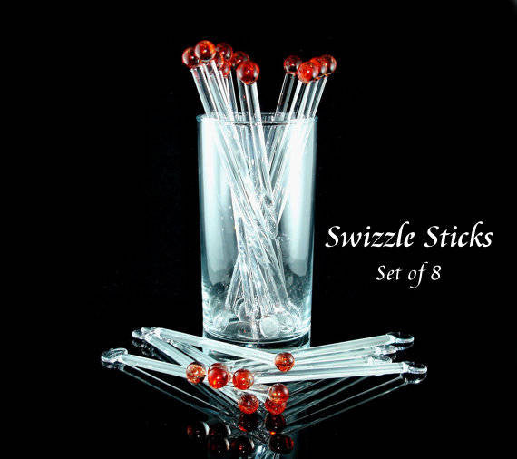 Swizzle Sticks Glass Drink Stirrers Red Set of 8