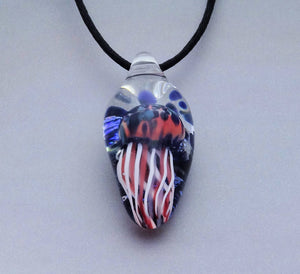 Jellyfish Necklace Blown Glass Pendant Lampwork Focal Bead Wearable Art (JF4127Aw)