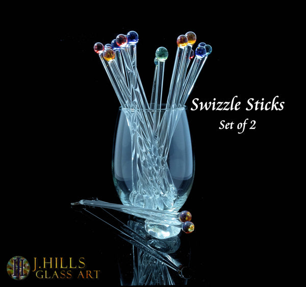Choice of Color Swizzle Sticks (Set of 2)  Glass Drink Stirrers Glass Cocktail Stirrers