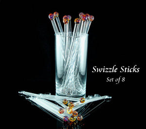 Swizzle Sticks Glass Drink Stirrers Amber Purple Set of 8