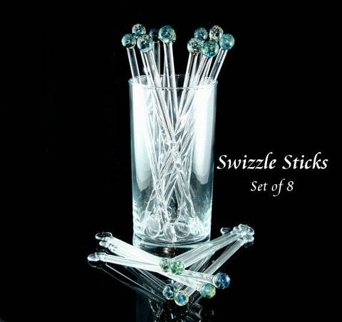 Swizzle Sticks Glass Drink Stirrers Aquatic Blue Set of 8