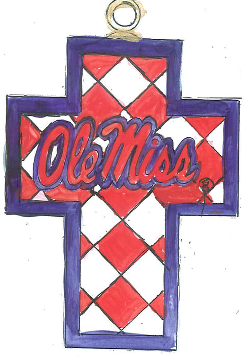 Ole Miss Harlequin Cross 24k Gold Plated Cloisonné Ornament