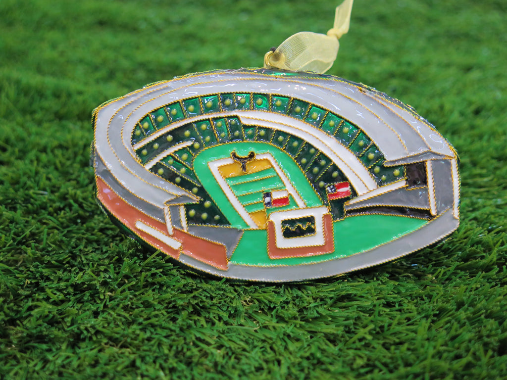 LOGO DISCONTINUED: Baylor McLane Stadium 24k Gold Plated Cloisonné Ornament - Kitty Keller Designs