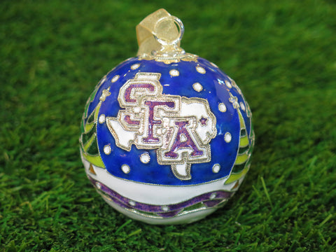 SFA Christmas Scene with Trees Night Sky 24k Gold Plated Cloisonné Ornament - Kitty Keller Designs