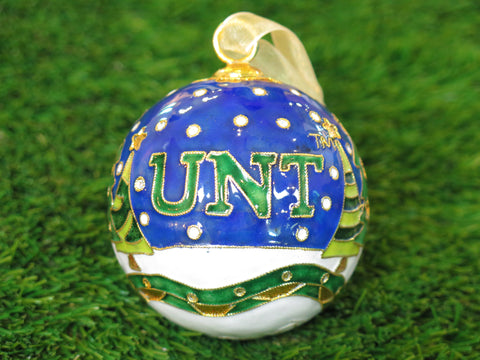 UNT Christmas Scene with Trees Night Sky 24k Gold Plated Cloisonné Ornament