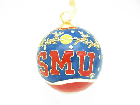 SMU Santa Flying Over Logo  Cloisonné Christmas Ornament - Kitty Keller Designs