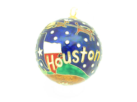 Santa and Sleigh Flying over Houston Cloisonné Christmas Ornament - Kitty Keller Designs