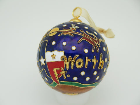 Santa and Sleigh Flying over Ft. Worth 24k Gold Plated Cloisonné Ornament