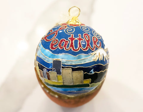 Seattle, WA 24k Gold Plated Cloisonne Ornament